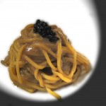 Chitarra cotta in brodo di calamare bruciati e mantecata con purea di ostriche fines de claires e olio extra vergine di oliva Foto Pasquali